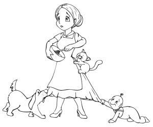 Mutter, Hausfrau, überfordert, Kind, Hund, Katze