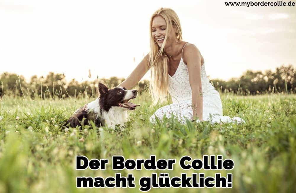 Eine Frau streichelt ihren Border Collie