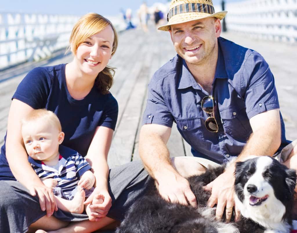 Border Collie mit Familie